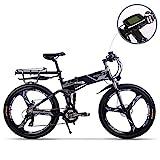 RICH BIT Elektrofahrräder aktualisiert RT860 36V 12.8A Lithium Batterie Faltrad MTB Mountainbike E Bike 17 * 26 Zoll Shimano 21 Speed Fahrrad intelligente Elektrofahrrad (Grau)