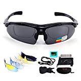 Sport Sonnenbrille Fahrradbrille Sportbrille mit UV400 5 Wechselgläser inkl Schwarze polarisierte Linse für Outdooraktivitäten wie Radfahren Laufen Klettern Autofahren Laufen Angeln Golf Unisex (Schwarz1)