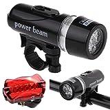 HCFKJ Wasserdicht 5 LED Lampe Fahrrad Fahrradlicht Kopfvorderseite + hinten Sicherheit Taschenlampe Set
