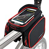 ROTTO Fahrradtasche Fahrrad Rahmentasche Oberrohrtasche Handy Tasche Wasserdicht Sensitive Touch-Screen (Schwarz-Rot)