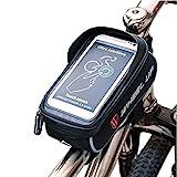 ROTTO Fahrradtasche Rahmentasche Oberrohrtasche Fahrrad Handy Tasche Vorne Sensitive Touch-Screen Wasserdicht (Schwarz)