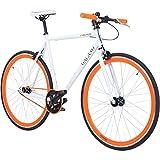 700C 28 Zoll Fixie Singlespeed Bike Galano Blade 5 Farben zur Auswahl, Rahmengrösse:56 cm, Farbe:weiss/orange