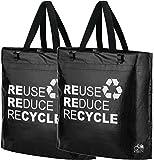 BikeZac Clip-On EINKAUFS-FAHRRADTASCHE | Einseitige Einkaufstasche | Gepäckträgertasche | Faltbar | Wasserabweisend | Trageschlaufen | Ökologisch, BikeZac:Black Recycle 2 x