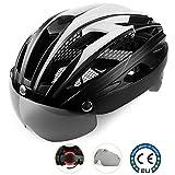 Shinmax Fahrradhelm,CE-Zertifikat,Specialized Fahrradhelm mit Abnehmbarer Magnetischer Visier-Schutzbrille Super Light Integral Fahrradhelm Erwachsenen Fahrradhelm mit Abnehmbarem Schild Visier