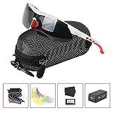 Polarisierter Sport Sonnenbrille für Herren und Damen Fahren Golf Laufen Radsport Superleichtes Rahmen 5 Farben Wechselbar (Weiß/Rot)