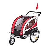 Homcom 440-001RD 2 in 1 Fahrradanhänger Jogger 360° Drehbar für Kinder, rot / schwarz