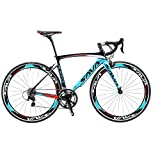 SAVA Kohlefaser Rennrad 700C SHIMANO 5800 22-Gang-Kettenschaltung Rennräder (Blau, 52cm)