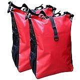Fahrradtasche für den Gepäckträger aus LKW-Plane 2 Stück mit Farbauswahl ( rot/schwarz )