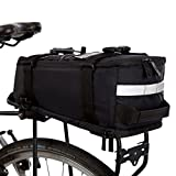BTR Deluxe fahrradtasche gepäckträger wasserdicht und reflektierender Schutzhülle – Schwarz –mit integriertem Schultergurt, Reflektoren