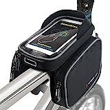 Fahrradtasche Fahrrad Rahmentasche Oberrohrtasche Handy Tasche Wasserdicht Sensitive Touch-Screen (Schwarz-Grau)
