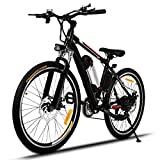 Edited E-Bike Professionelles Elektrofahrrad Mountainbike 26 Zoll Rad Aluminium Radfahren Fahrrad mit LED-Anzeige Schwarz