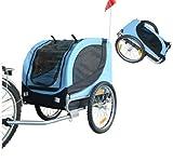 PawHut Hundeanhänger Fahrradanhänger Hunde Fahrrad Anhänger Blau/Schwarz