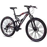 CHRISSON 26' Zoll ALU MTB Mountainbike Fahrrad EMOTER Fully Unisex mit 21G Shimano TX55 2xDISK Schwarz Matt