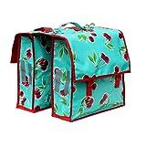IKURI Fahrradtasche für Gepäckträger Wasserdicht Satteltasche Für Damen Packtasche aus Wachstuch - Design Cerezas in Türkis
