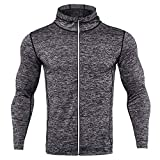 Swallowuk Herren Kompression Hoodie Einfarbig Langarm Mantel Slim Funktionsshirt Fahrradbekleidung Gym Outdoor Radfahren Sport Outwear (XL, D)
