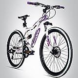 Bergsteiger Kodiak 26 Zoll Mountainbike, geeignet ab 150 cm, Scheibenbremse, Shimano 21 Gang-Schaltung, Vollfederung, Damen-Fahrrad & Mädchen-Fahrrad